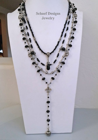 Schaef Designs Black Onyx, White fresh water pearl & sterling silver layering Necklace Set | New Mexico