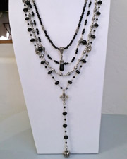 Schaef Designs Black Onyx, White Freshwater Pearl & Sterling Silver Necklaces Set | New Mexico
