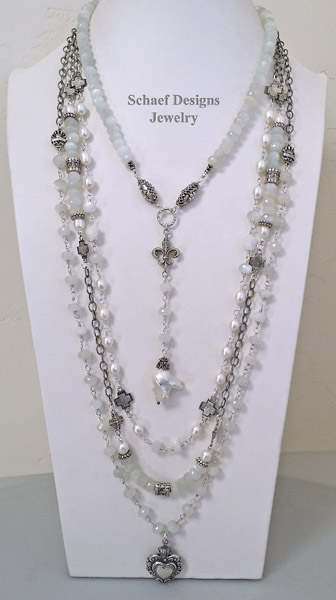 Schaef Designs Gray Moonstone & large freshwater pearl, hematite, & sterling silver rosary style layering necklace trio | New Mexico