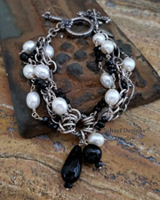 Schaef Designs Pearl Black Onyx Figaro Sterling Silver Chain Multi Strand Bracelet | New Mexico