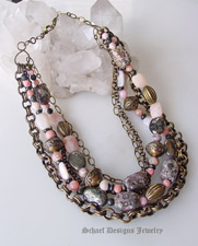 Pink peruvian opal, leopard jasper, pyrite & bronze chain multi strand neckalce | upscale artisan handcrafted gemstone & pearl online jewelry gallery | Schaef Designs artisan handcrafted Gemstone & Pearl Jewelry | New Mexico
