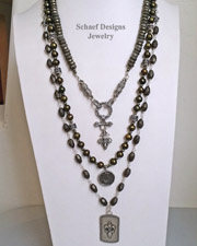 Schaef Designs Gray Pyrite Bronze Pearl & Sterling Silver Necklace Set | New Mexico