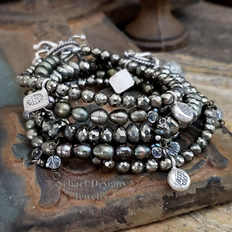 Schaef Designs Gemstone stacking bracelets pyrite, olive pearl, & sterling silver | New Mexico