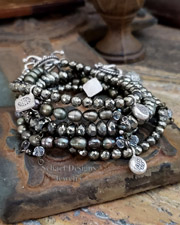 Schaef Designs Gemstone stacking bracelets of pyrite, olive pearl, & sterling silver | New Mexico