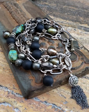 Schaef Designs Pyrite Turquoise Black Onyx Figaro Chain Multi Strand Bracelet | New Mexico