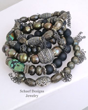Schaef Designs Pyrite Turqouise Pearl Marcasite Chain Stacking Bracelets Click Picture for Prices | New Mexico