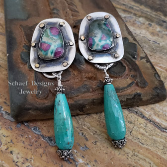 Schaef Designs ruby in zoisite, chrysoprase, sterling silver & brass dangle earrings | New Mexico