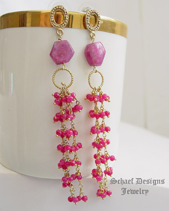 Schaef Designs artisan handcrafted ruby & gold vermeil dangle post earrings | New Mexico
