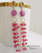Schaef Designs Ruby Gold Vermeil Dangle Post earrings | New Mexico