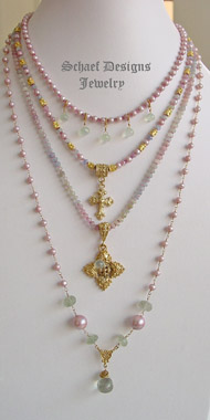 Schaef Designs Shaded sappire, prasiolite, pearl & gold vermeil suite of 3 rosary style necklaces | New Mexico