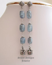 Schaef Designs Kyanite & Sterling Silver Crown dangle earrings | New Mexico