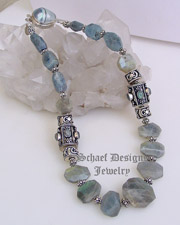 Schaef Designs Kyanite, Labradorite, & sterling silver necklace with shell clasp | Schaef Designs artisan handcrafted gemstone & pearl Jewelry | online gallery boutique  |New Mexico