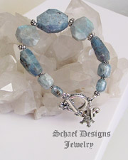 Schaef Designs Kyanite, Labradorite, & sterling silver necklace with shell clasp | New Mexico