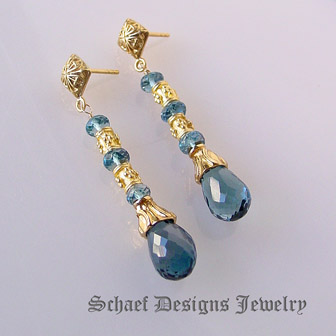 schaef designs london blue topaz 24kt gold vermeil gemstone earrings