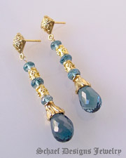 Schaef Designs London Blue Topaz & 24kt gold vermeil gemstone earrings | New Mexico