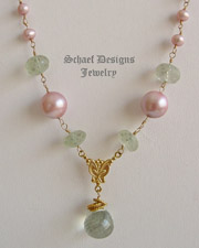 Schaef Designs Prasiolite,Green Amethyst, Pink Pearl & 22kt Gold Vermeil Gemstone Rosary Style Long Necklace | New Mexico