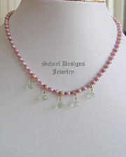 Schaef Designs Prasiolite,Green Amethyst, Pink Pearl & 22kt Gold Vermeil Short Gemstone Necklace | New Mexico