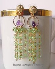 Schaef Designs Peridot, Amethyst & Gold Vermeil artisan handcrafted gemstone dangle earrings | New Mexico