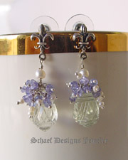 Schaef Designs Prasiolite, tanzanite, seed pearl & sterling silver gemstone earrings | New Mexico