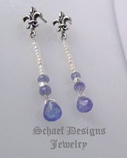 Schaef Designs tanzanite, seed pearl & sterling silver  fleur de lis earrings | New Mexico