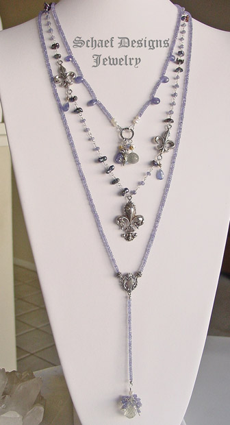 Schaef Designs Prasiolite, tanzanite, seed pearl & sterling silver gemstone rosary style necklace | New Mexico