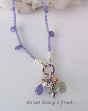 Schaef Designs tanzanite,prasiolite (green amethyst),& sterling silver short necklace | New Mexico