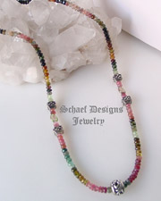 Schaef Designs shaded tourmalines, watermelon tourmaline, and sterling silver gemstone layering necklace | online jewelry gallery boutique | Schaef Designs Gemstone Jewelry |New Mexico