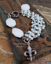 Schaef Designs White opal quartz & Sterling Silver gemstone bracelet | New Mexico