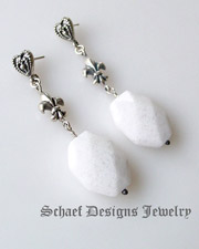 White opal quartz & Sterling Silver gemstone & Sterling Silver POST dangle earrings |Schaef Designs upscale artisan handcrafted gemstone & pearl online jewelry gallery | New Mexico