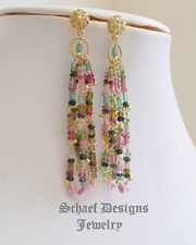 Artisan handcrafted gemstone earrings of shaded tourmaline, cz and 22kt gold vermeil | Schaef Designs gemstone jewelry | online jewelry boutique | New Mexico