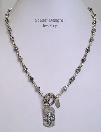 Schaef Designs silver rosette chain & sterling silver dog tag cross pendant | New Mexico