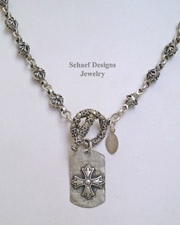 Schaef Designs Sterling Silver Rosette Tag Necklace | New Mexico