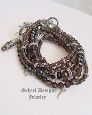 Schaef Designs Gemstone stacking bracelets of smokey topaz & sterling silver | New Mexico