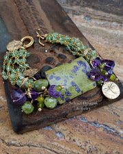 Stitchtite amethyst peridot & 24kt Gold Vermeil bracelet | Schaef Designs artisan handcrafted gemstone Jewelry | upscale online jewelry gallery boutique |New Mexico