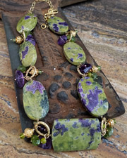 Schaef Designs Stitchtite amethyst peridot & 24kt Gold Vermeil necklace | New Mexico
