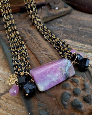 Schaef Designs Black Tourmaline, Pink Sapphire Brioliettes & 24kt Gold Vermeil charm long necklace | New Mexico
