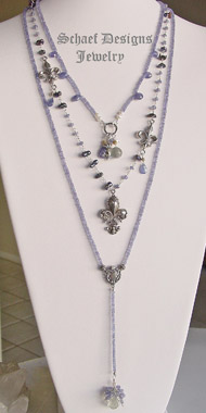 Schaef Designs Tanzanite Prasiolite & Sterling Silver Suite of 3 Rosary Style necklaces | New Mexico