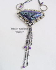 Schaef Designs tiffany stone, amethyst & black silver long chain necklace | New Mexico