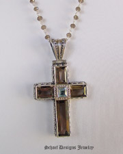 Schaef Designs Smoky & Blue Topaz Gemstone Cross pendant and smoky topaz chain necklace in sterling silvery | New Mexico