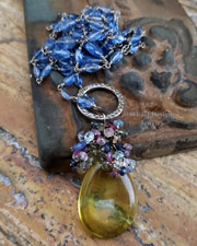 Schaef Designs Smooth lemon topaz briolette crowned with multi colored sapphires on hand linked kyanite & sterling silver necklace | New Mexico