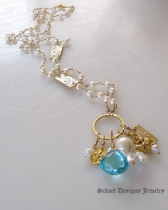 Schaef Designs Large Swiss Blue Topaz & White Freshwater Pearl 24kt Gold Vermeil Amulet Necklace | New Mexico