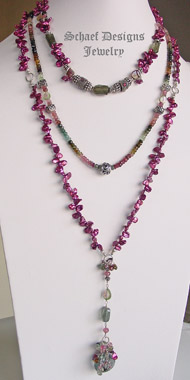 Schaef Designs watermelon shaded tourmalines, keishi pearl & Moss aquamarine suite of 3 rosary style necklaces | New Mexico