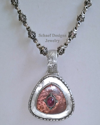 Schaef Designs Large Watermelon Tourmaline Slice Stacked Gemstone & Sterling Silver Pendant | New Mexico