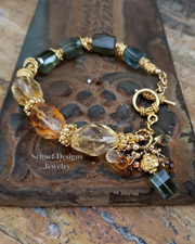 Schaef Designs Gemstone and Gold bracelet of citrine, moss aquamarine, and peruvian opal | New Mexico