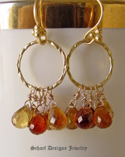 Schaef Designs artisan handcrafted gemstone earrings | Faceted shaded citrine briolettes & 22kt gold vermeil earrings |New Mexico
