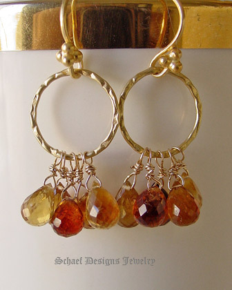Schaef Designs Shaded Citrine faceted briolettes on 22kt gold vermeil ring dangle earrings | New Mexico