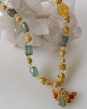 Schaef Designs Artisan handcrafted gemstone necklace of citrine nuggets, rare moss aquamarine and 22kt gold vermeil | New Mexico