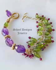 Schaef Designs Amethyst, Peridot, Garnet & 24kt gold vermeil one of a kind gemstone bracelet | New Mexico