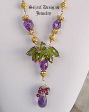 Schaef Designs Amethyst, Peridot, Garnet & 24kt gold vermeil one of a kind necklace | New Mexico