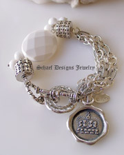 Schaef Designs White agate, sterling silver figaro chain & armadillo dot bead multi strand bracelet with crown charm | New Mexico
